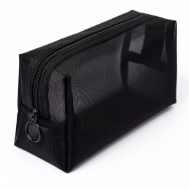 Black Mesh Zipper Cosmetic Storage Pouch