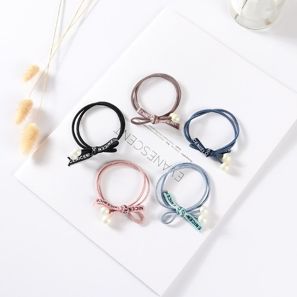 Ribbon with Pearl Hair Bands/ Hair Ties - GEMBIRA.com.my